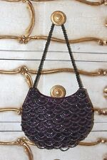 Wallis purple beads ladies small evening handbag shoulder bag