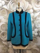 Oscar De La Renta Womens Blazer Jacket Turquoise Black Velvet Career Wool Sz 6