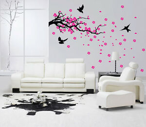 Tree Branch Wall Art Sticker Vinyl Decal Mural Decor Bird Cherry Blossom Japan