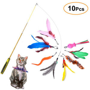 Retractable Cat Toys Interactive Feather Teaser Wand Toy With 8 Refills
