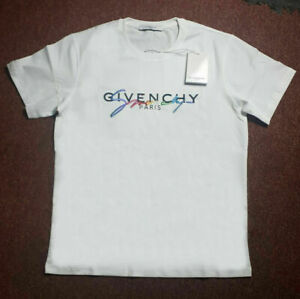 Givenchy Men's T-Shirt White Signature Rainbow Logo Size M with Receipt