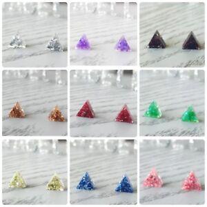Triangle Earrings Handmade Resin Earrings Sparkle Glitter Stud Earrings
