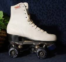 White Faux Leather Roller Derby Chicago Style Roller Skates Blue Wheels Sz 6
