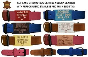 Personalised Dog Collar Soft Nubuck Leather Collar Engraved ID Tag for Pets