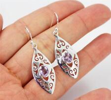 Unusual Solid 925 Sterling Silver, Purple Amethyst Drop / Dangle Earrings 98