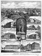 Erlangen, neun Ansichten, Sammelblatt, Original-Holzstich von 1894