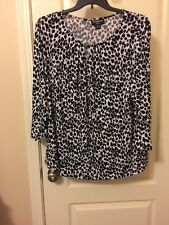 Womans Liz Claibourne Black And White Animal Print Top Plus Size 3x