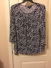 bd3d6acbc Womans Liz Claibourne Black And White Animal Print Top Plus Size 3x