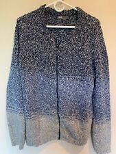 ASOS Women's Zip Front Loose Knit Fuzzy Blue Gray Sweater SZ MED