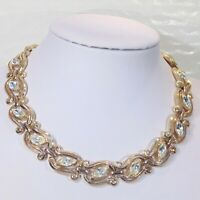 Vintage signed Crown Trifari rhinestone choker necklace 1950s pat pend marquise