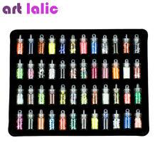 48 Bottles Nail Art Rhinestones Beads Sequins Glitter Tips Decoration Tool Gel N