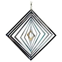 Diamond Wind Spinner Silver Mirror Metal Sun Catcher for Garden
