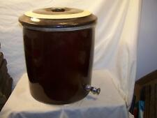 #4 Blue Crown Early Brown Spigot water cooler crock with Lid