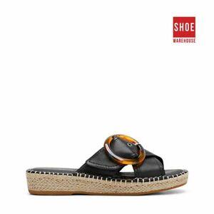 Hush Puppies BAHATI Black Womens Flat Casual Leather Sandals