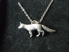 """Fox codea23 Fine English Pewter On 16"""" Silver Plated Curb Necklace"""