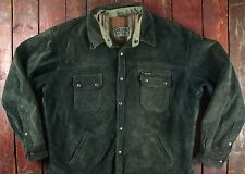 VTG DIESEL HEAVY SUEDE LEATHER GREEN CHECK LINED SPORT JACKET TRUCKER 48 XL