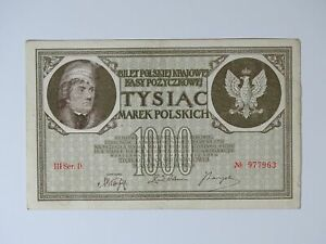 ➤ Banknote 1000 Marek Polskich Mark Tysiac 1919 Poland, III Ser.D. Nr. 977963 ➤