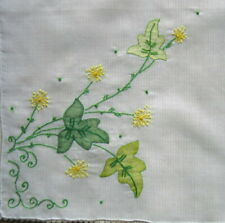 Vintage Madeira-style Embroidered White Hankie Yellow Floral Botanical  Doily