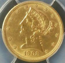 1908 $5 Liberty Head Gold Half Eagle PCGS Genuine UNC Details