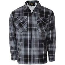 Mens Sherpa Lined Warm Winter Thick Lumber Jack Padded Check Shirt Sz M-3xl Grey Black XL