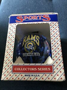 Vintage Los Angeles Rams Glass Ornament NIB 1990s NFL Made In USA Topperscot