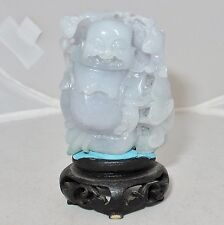 """3"""" Chinese Carved Pale Lavender & Green JADEITE Jade Buddha Statue on Wood Stand"""