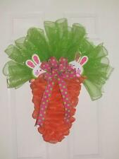 Easter Carrot Deco Mesh Spring Wreath with Pink & Green Polka Dot Bow 2 Bunnies