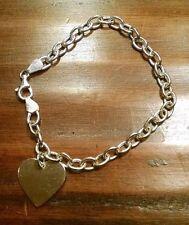 Sterling Silver Charm Bracelet with Heart Charm Hallmark SU 925