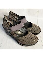 Jambu England Gray Leather Sport Wedge Mary Jane Slip On Shoe Women's 8.5