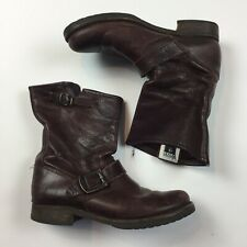 FRYE Women's Brown Harness Leather Boots Size 6.5 B 76508 Distressed