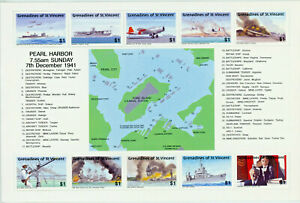Pearl Harbor Anniversay Souvenir Sheet From St. Vincent & Grenadines