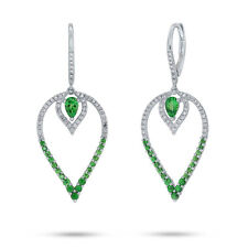 1.51tcw 14K White Gold Diamond & Pear Cut Green Garnet Tear Drop Dangle Earrings