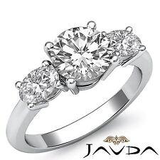 2ct Round Diamond Engagement Stunning Three Stone Ring GIA F VS1 14k White Gold