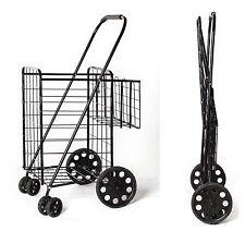 Swivel Wheels JUMBO Metal Folding Shopping Grocery laundry Cart w/ Extra Basket