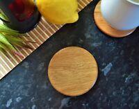 Plain Round Wooden Coasters, Handmade Solid Oak Hardwood Drink Mats