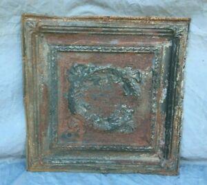 "Antique Decorative Tin Metal Ceiling 2' x 2' Shabby VTG 24"" SQ Rust 1130-20B"