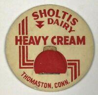 Sholtis Dairy Thomaston Connecticut CT Vintage Milk Bottle Cap Red Heavy Cream