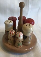 Vintage Salt n Pepper Wood Shakers Mixed Lot With Wood Stand