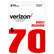 VERIZON Prepaid $70 Refill Top-Up Prepaid Card / DIRECT RECHARGE