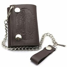Trifold Brown Genuine Leather Biker Chain Wallet Embossed Virgin Mary Design