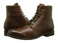MEN HANDMADE LACE UP STYLE SHOES MEN CHOCOLATE BROWN ANKLE LEATHER CAP TOE BOOT