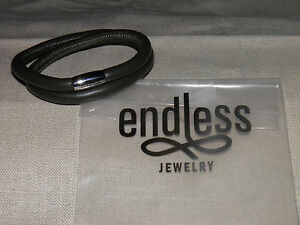 NEW Endless Jewelry Double Leather Slider Charm Bracelet Stainless Steel Clasp