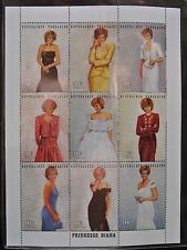 PRINCESS DIANA ROYAL GOWN Plate Block of 9 w/Coa International Collector Society