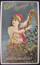 Victorian Trade Card Estey Organ Battleboro VT Little Girl Playing the Harp