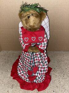 Boyds Bears Jenessa #744121 Angel Tree Topper Red & Green Gingham Dress