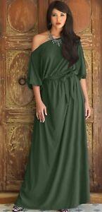 KOH KOH Maxi Off Shoulder 3/4 sleeve plus size dress XXXL