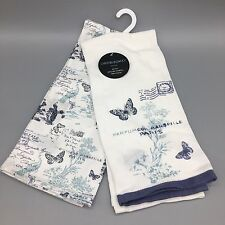 2 Cynthia Rowley Paris Kitchen Towel Set Blue Butterfly Peacock Postal Stamp NEW