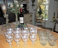 Ornate 18 Pc White Rose Painted Gold Trim Fancy Wine Rocks Drink Ware Glass Set