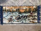 "Vintage Tapestry Velvet Wall Hanging rug Sled Dogs 38.5"" X 18"" Eskimo Snow"