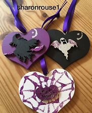 3 Halloween Decorations Handmade Hanging Witch Pumpkin Ghost Purple Black